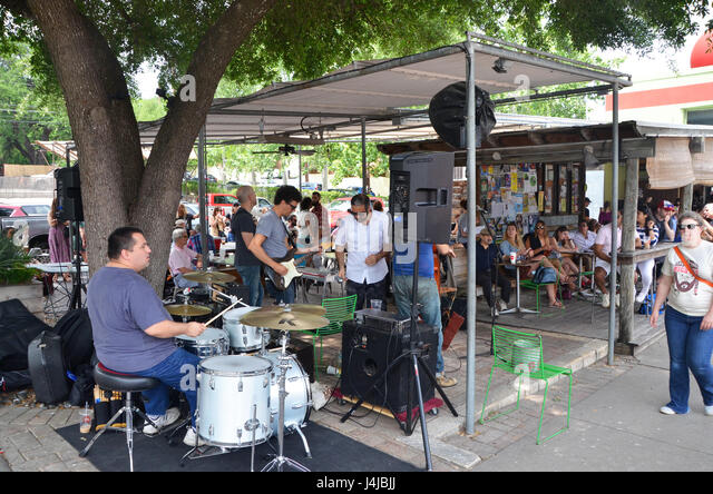 A band plays live music on s congress ave austin texas stock image