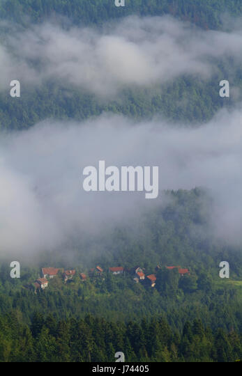 Sea of clouds in the mountains of Croatia - Stock Image