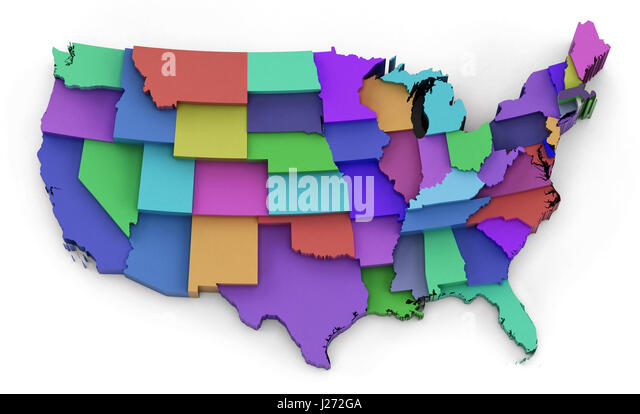 United States Map Alaska And Hawaii Stock Photos United States - Colored usa map