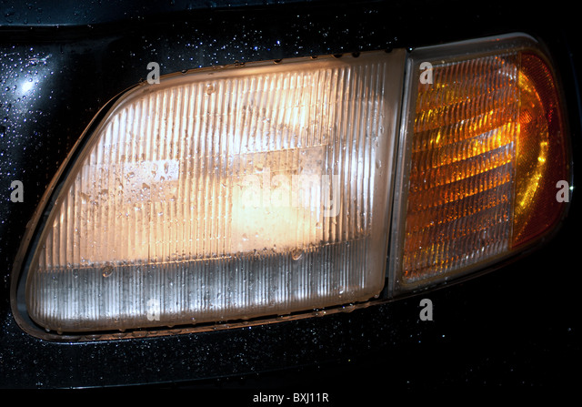 Truck Headlights In Rain : Headlight close up night stock photos