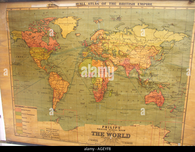 British empire map stock photos british empire map stock images old school world wall map showing british empire in red stock image gumiabroncs Gallery