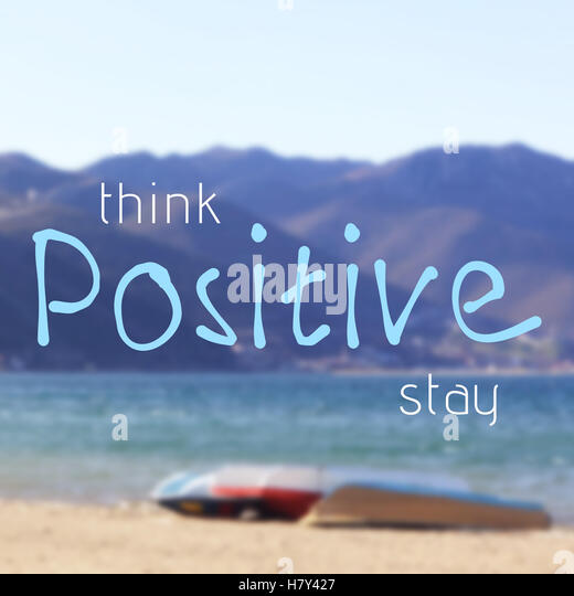 Think And Stay Positive Inspirational Quote On Blurred Background With  Sunny Summer Beach   Stock Image