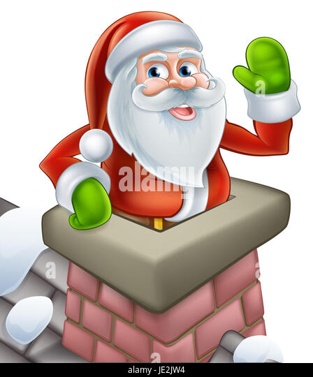 santa on a snowy rooftop coming out of a chimney stack and waving at christmas