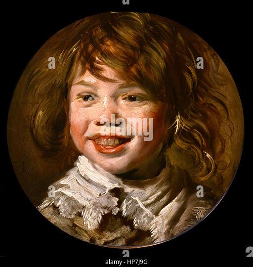 frans hals lachende jongen mauritshuis museum the hague stock image - Rosa Krbislampe