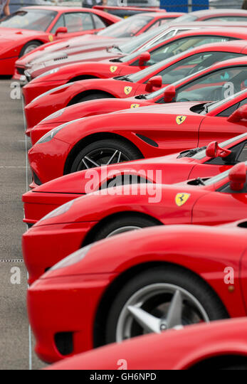 Ferrari Owners Club Sports Cars Lined Up At The 2016 Silverstone Classic  Event, England,