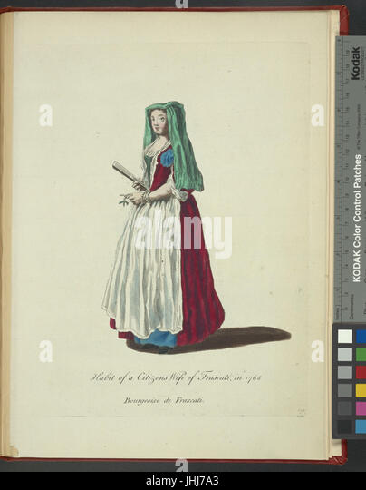 Habit of a citizen's wife of Frascati in 1768. Bourgeoise de Frascati (NYPL b14140320-1638373) - Stock Image