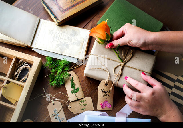 Hands diy wrapping gift box stock photos hands diy wrapping gift hands diy wrapping gift box on wooden table stock image solutioingenieria Images