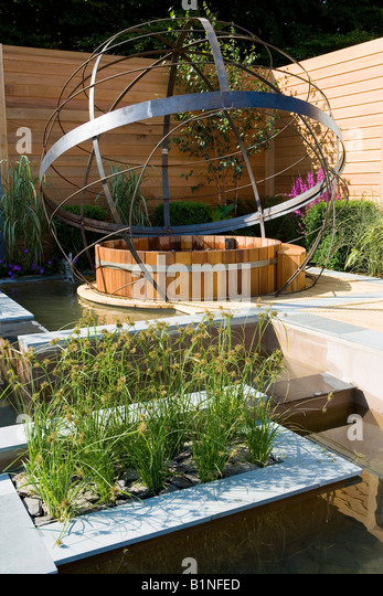 Large Armillary Sphere In A Garden Water Feature   Stock Image