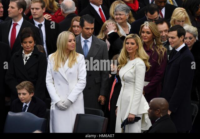 Ivanka Trump stands with her siblings Tiffany Trump, Baron Trump, Don Trump, Jr., husband Jared Kushner and Victoria - Stock Image
