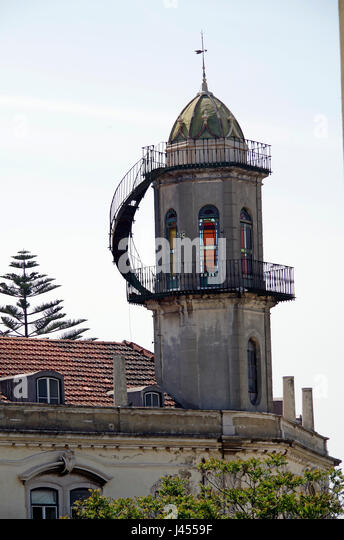 Lisbon, Portugal, Folly (?) a six or eight-sided tower, looking s a little like a lighthouse, - Stock Image