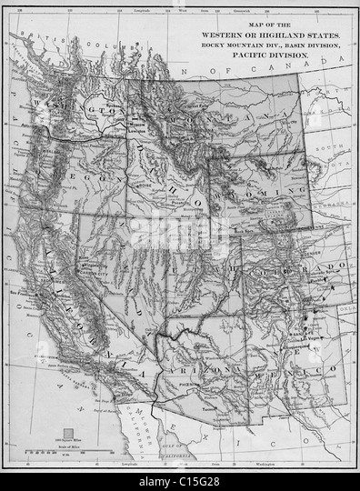 United States Map Black And White Stock Photos Images Alamy - Black and white map of western us