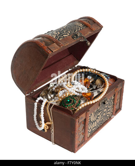 wooden treasure chest with valuables isolated with clipping path stock image