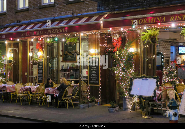 America american outside outdoors outdoor exterior lighting lit holiday season on mulberry street in little italy nyc stock image aloadofball Gallery