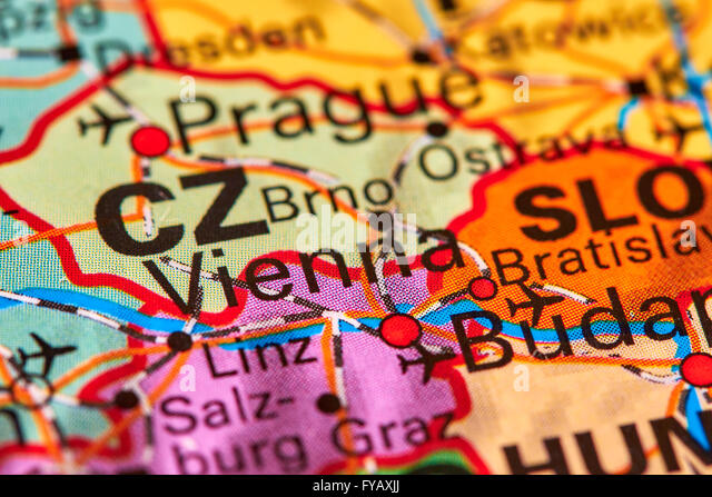 Vienna Austria Europe Map Stock Photos Vienna Austria Europe Map - Vienna austria on world map