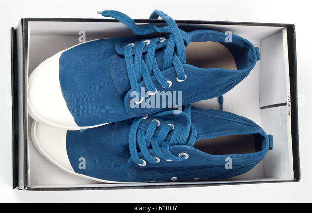 A pair of new blue shoes in a shoe box - Stock Image & Shoe Box Stock Photos u0026 Shoe Box Stock Images - Alamy Aboutintivar.Com