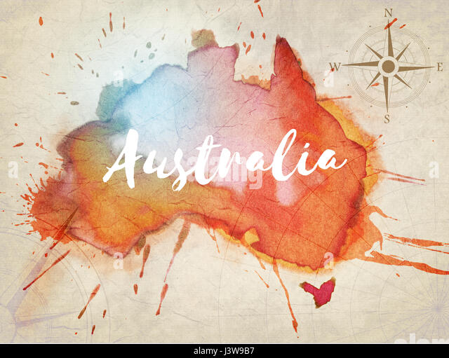 Watercolor world map stock photos watercolor world map stock australia watercolor map stock image gumiabroncs Image collections