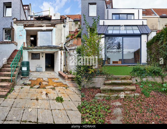 Construction Of A New Part From Old House Before And After   Stock Image