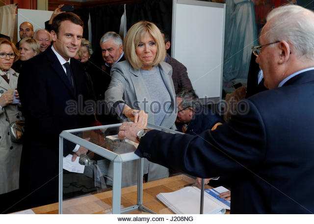 Brigitte Trogneux (C), wife of Emmanuel Macron, head of the political ...