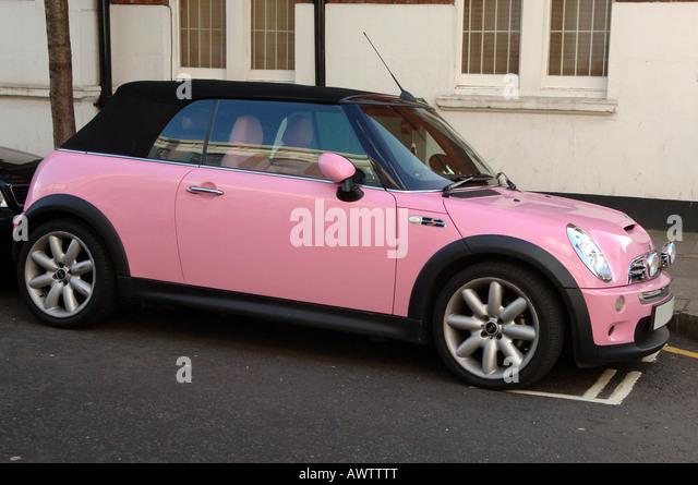 mini cooper convertible pink. pink mini cooper stock image convertible