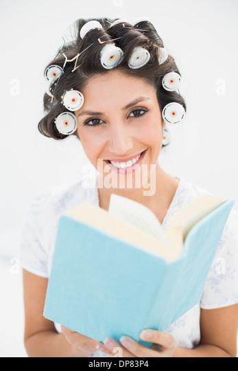 Woman In Pajamas Looking Book Stock Photos & Woman In Pajamas ...