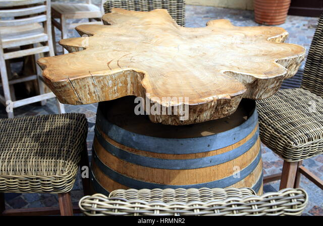 Unique And Unusual Rustic Vintage Restaurant Table Made From Burr Oak And  Wodden Barrel   Stock
