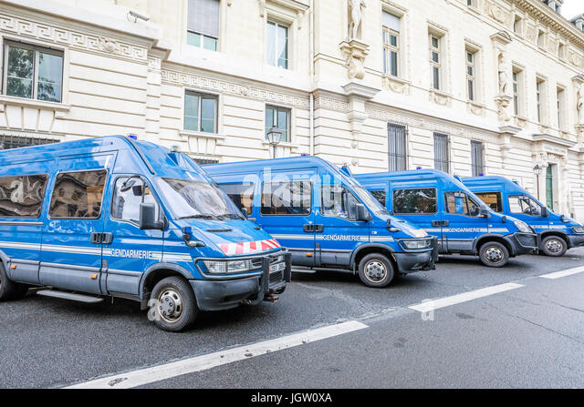 French gendarmerie minibuses - Stock Image