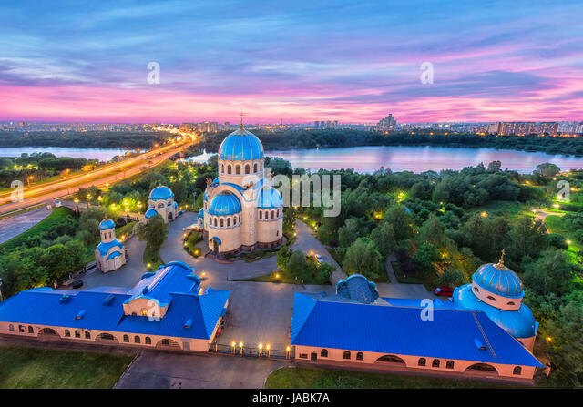 Aerial view on church of Life-Giving Trinity on Borisov Ponds in the evening. Orekhovo-Borisovo, Moscow, Russia - Stock Image