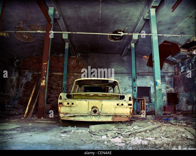 Old Ruined Garage Interior