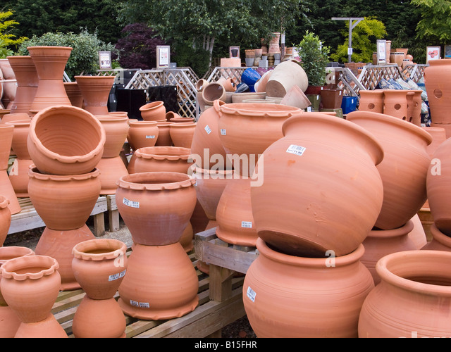 Garden Pots For Sale Part - 36: Terracotta Pots On Sale In An English Garden Centre - Stock Image