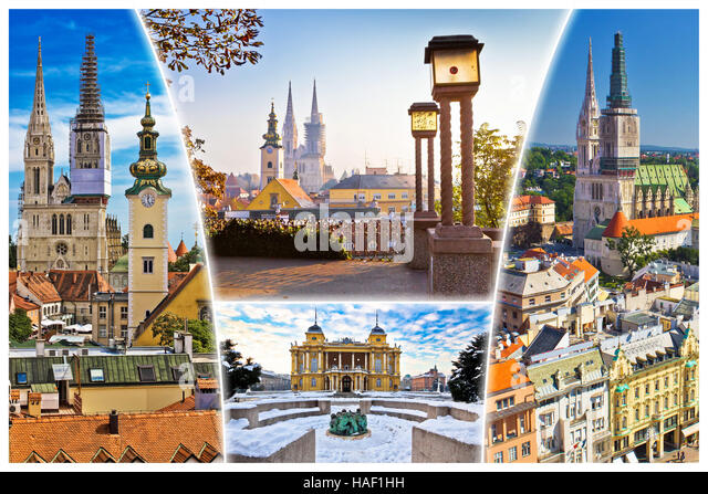 City Of Zagreb Old Landmarks Postcard Capital Croatia Collage
