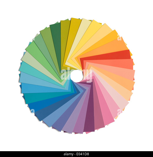 Paint Samples In Color Wheel Formation Isolated On White Background