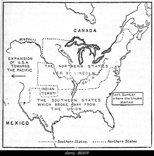 Civil War Map Stock Photos Civil War Map Stock Images Alamy - Map of us at start of civil war