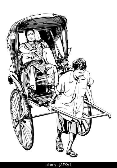 Kolkata, India - drawing a rickshaw with a passenger - vector illustration - Stock Image