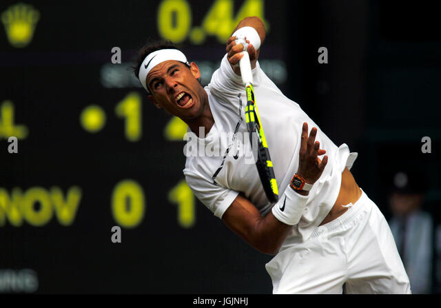 London, UK. 07th July, 2017. London, 7 July, 2017 - Rafael Nadal of Spain serving to Karen Khachanov of Russia during - Stock Image