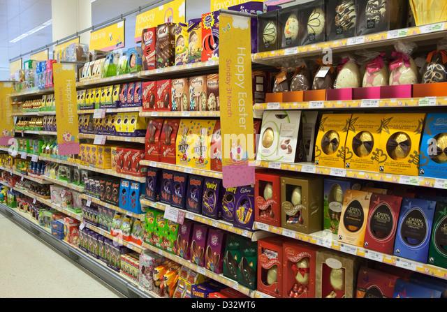 Easter eggs supermarket stock photos easter eggs supermarket easter eggs on shelves of waitrose supermarket stock image negle Gallery