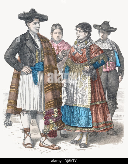 19th century xix spain traditional dress of alicante and zamora