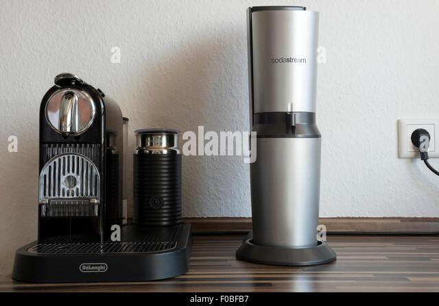 sodastream and delonghi nespresso coffee machine stock image