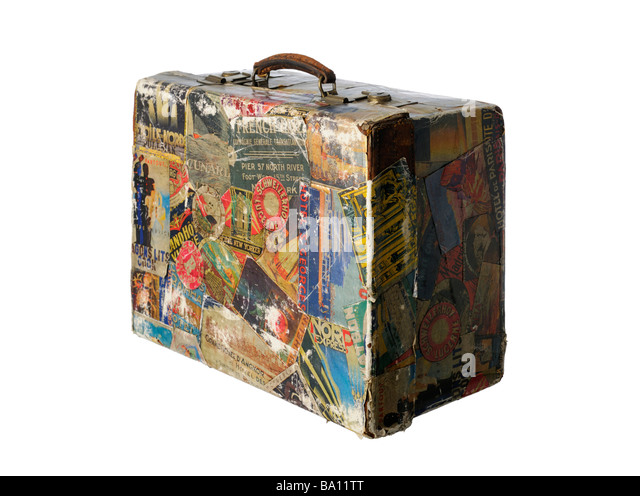 Old Suitcase Travel Stickers Stock Photos & Old Suitcase Travel ...