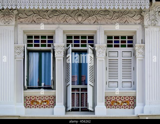 exterior house tiles chinese tiles stock photos chinese tiles stock images alamy & Exterior House Tiles - Traditional Shop House Exterior With White ...