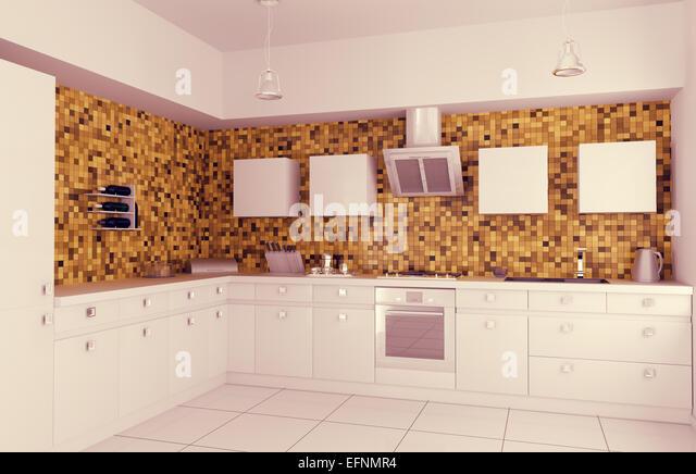 Modern Kitchen 3d Design interior orange kitchen 3d render stock photos & interior orange