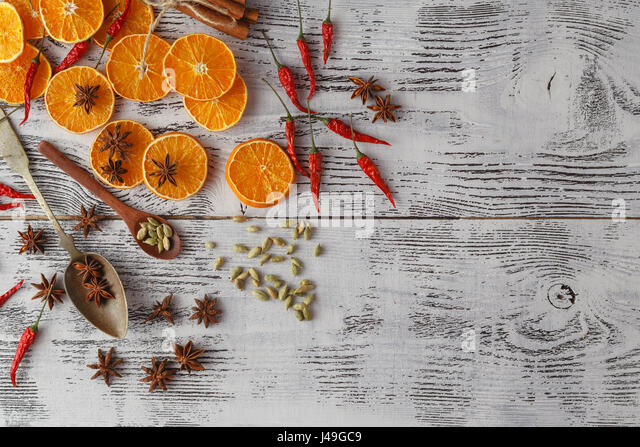 Spicy Christmas Background Ingredients For Cooking Baking Flat Lay With Copy Space