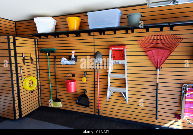Organized garage stock photos organized garage stock for New home construction organizer