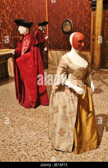 Typical costumes for aristocrats in Venice between 1700 and 1750. Exhibited in the Mocenigo Palace Museum in Venice, - Stock Image