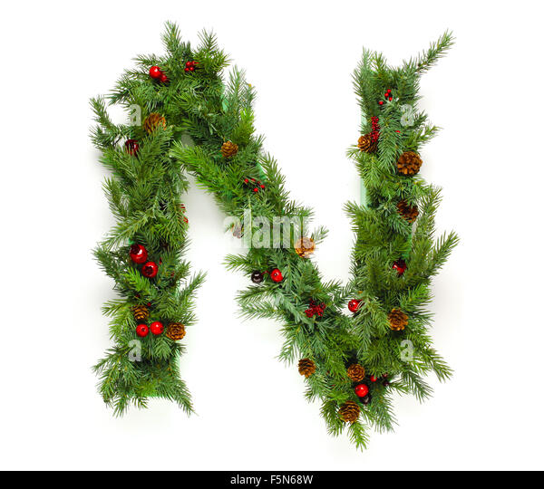 Letter made christmas tree branches stock photos letter for Christmas tree letters