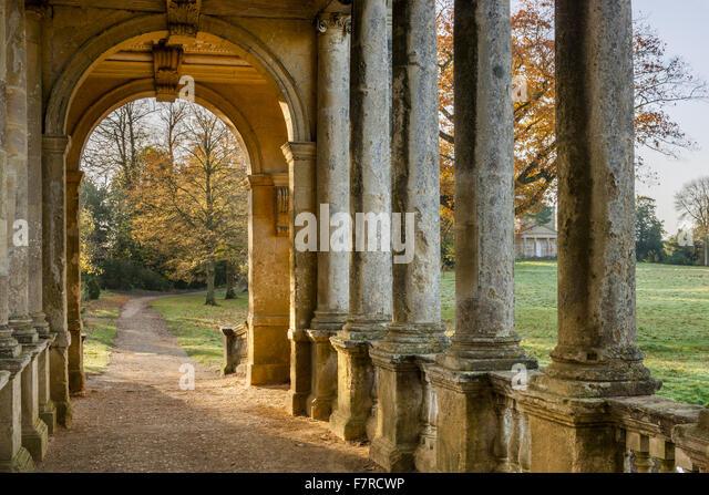 The Palladian Bridge At Stowe, Buckinghamshire. Stowe Is An 18th Century  Landscaped Garden,