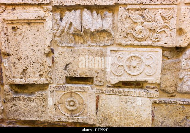 Roman stone carvings stock photos