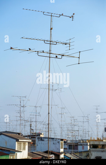Good Antennas On The Roof   Stock Image