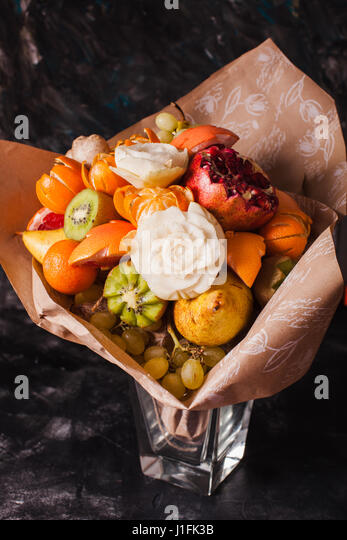 Apple and orange catering stock photos