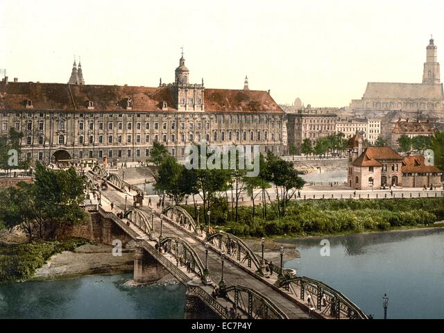 http://l7.alamy.com/zooms/d8ad16894ce04698a0873dccd02ed3d0/university-with-bridge-breslau-silesia-germany-wroclaw-poland-ec7p4y.jpg