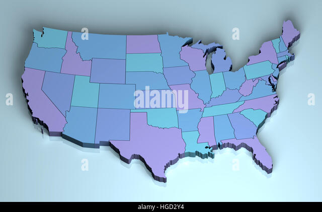 Usa 3d Usa 3d North America Us Map Three Dimensional Shape Ilration Stock Image